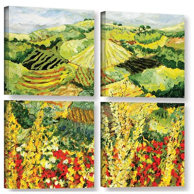 Golden Hedge 4 Piece Painting Print on Wrapped Canvas Set
