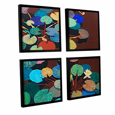 Slow Stream 4 Piece Framed Painting Print on Canvas Set