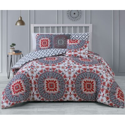 Gladesville 5 Piece Reversible Comforter Set Color: Red, Size: Queen