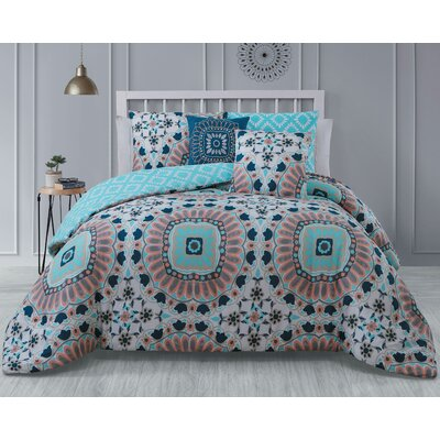 Gladesville 5 Piece Reversible Comforter Set Color: Teal, Size: Queen