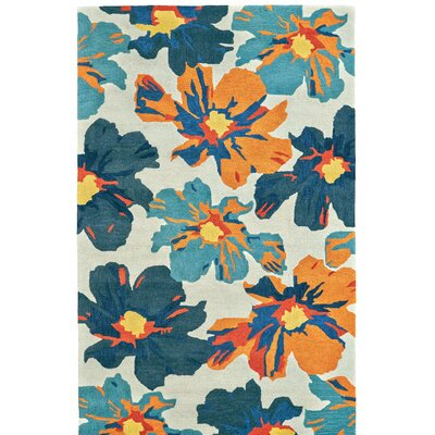 Hand Tufted Beige/Blue Area Rug Rug Size: 3'6
