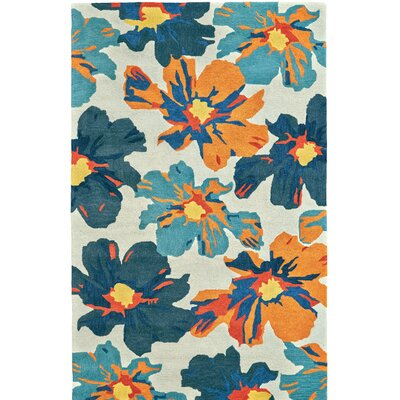 Hand Tufted Beige/Blue Area Rug Rug Size: Rectangle 8 x 11