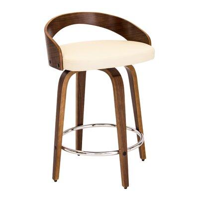 Victoria 24.25 Swivel Bar Stool Upholstery: Walnut/Cream
