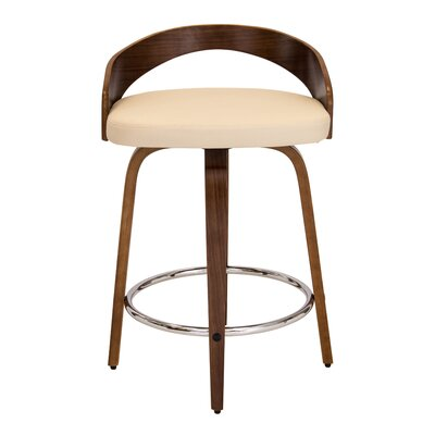 Bridgett 24.25 Swivel Bar Stool Upholstery: Walnut/Cream
