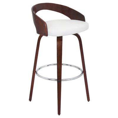 Victoria 24.25 inch Swivel Bar Stool Upholstery: Cherry/White