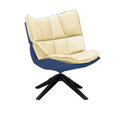 Roxie Swivel Side Chair Color: Blue/Cream