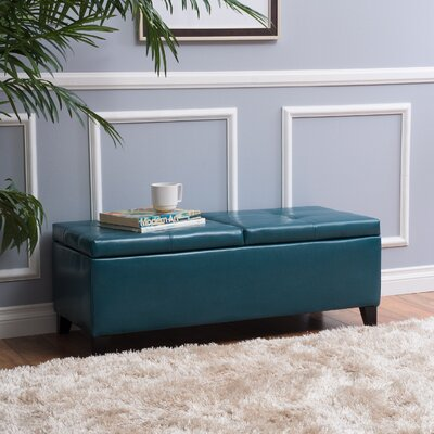 Jefferson Leather Storage Ottoman Upholstery: Teal