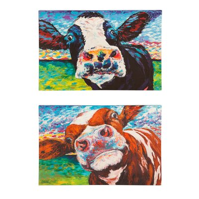 Curious Cow 2 Pieces Painting Print on Canvas Set
