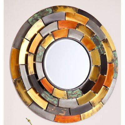 Round Galvanized Metallic Wall Mirror