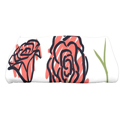 Cherry Spring Floral 1 Floral Print Bath Towel Color: Coral