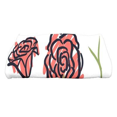 Cherry Spring Floral 1 Floral Print Bath Towel Color: Coral