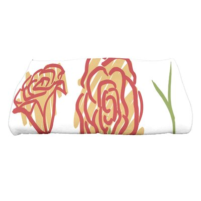 Cherry Spring Floral 1 Floral Print Bath Towel Color: Gold