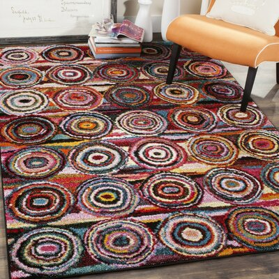 Miley Red/Blue/Pink Area Rug Rug Size: 4 x 6