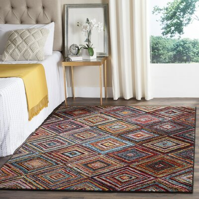 Miley Red/Blue/Orange Area Rug Rug Size: Rectangle 53 x 76