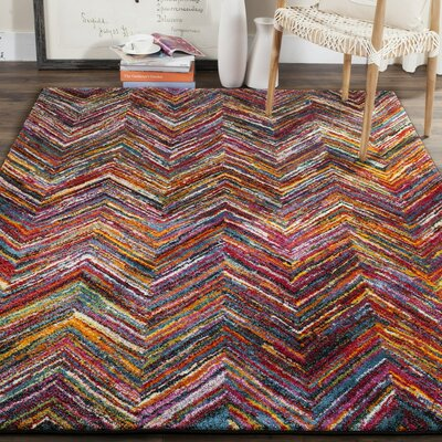 Miley Red/Orange/Green Area Rug Rug Size: Rectangle 67 x 9
