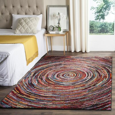 Miley Red/Green/Yellow Area Rug Rug Size: Rectangle 67 x 9