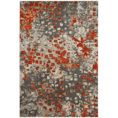 Mila Gray/Orange Area Rug Rug Size: Square 9