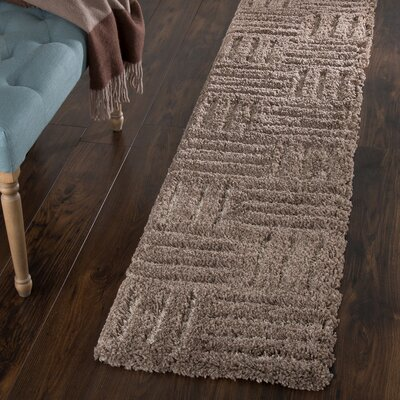 Millicent Hand-Woven Brown Area Rug Rug Size: Runner 18 x 7