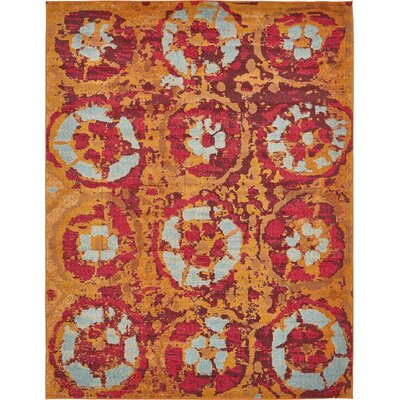 Monique Red/Orange Area Rug Rug Size: 33 x 53