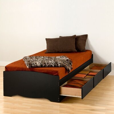 Valerio Extra Long Twin Platform Bed with Storage Finish: Black