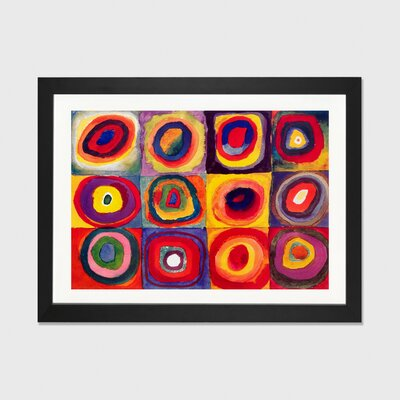 'Squares with Concentric Circles' by Wassily Kandinsky Framed Graphic Art Size: 24