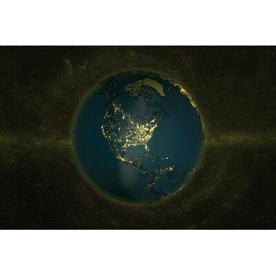The Globe Series: Lights of The Americas Graphic Art on Wrapped Canvas Size: 12