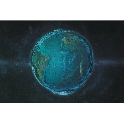The Globe Series: The Atlantic in Relief Graphic Art on Wrapped Canvas