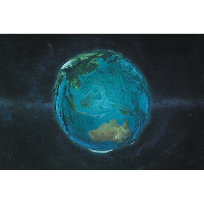 The Globe Series: The Pacific in Relief Graphic Art on Wrapped Canvas