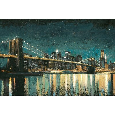 Bright City Lights II Graphic Art on Wrapped Canvas in Teal Size: 12