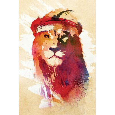 Gym Lion Painting Print on Wrapped Canvas