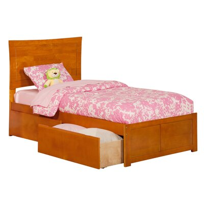 Amy Twin Mates & Captains Bed with Storage Color: Caramel Latte