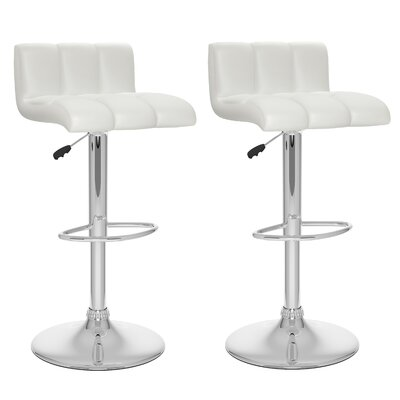 Andres Adjustable Height Swivel Bar Stool Upholstery: White
