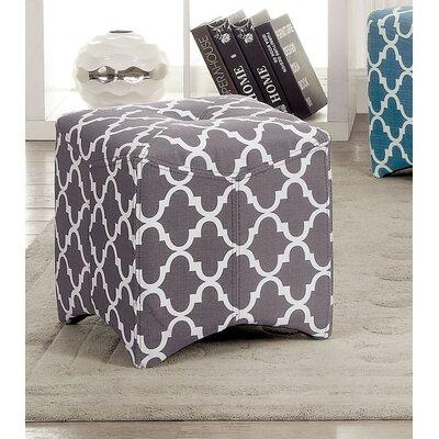 Ririe Quatrefoil Ottoman Upholstery: Grey