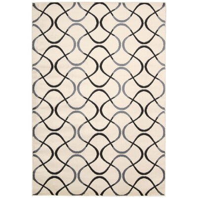 Anguilla Cream / Black Area Rug Rug Size: 5'3