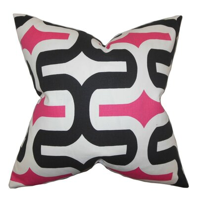 Suzanne Geometric Bedding Sham Size: Euro, Color: Black/Pink