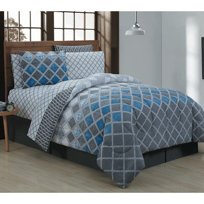 Haberfield 8 Piece Bed-In-a-Bag Set Size: King, Color: Blue