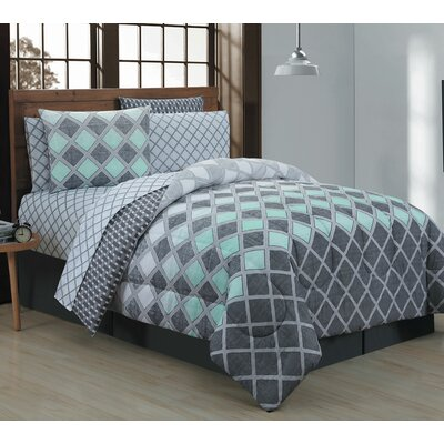 Haberfield 8 Piece Bed-In-a-Bag Set Size: Queen, Color: Mint