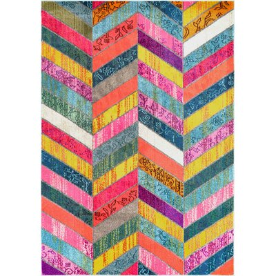 Sydnee Pink/Green/Yellow Area Rug Rug Size: 5'3