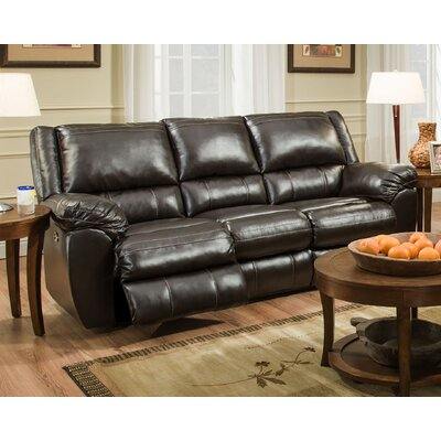 Simmons Upholstery Lena Motion Reclining Sofa Recliner Mechanism: Power, Upholstery: Brown