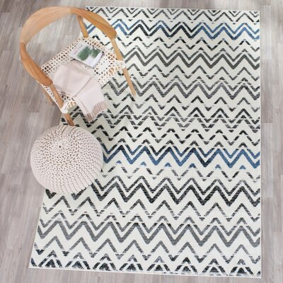 Pheobe Cream/Blue Area Rug Rug Size: 4 x 6