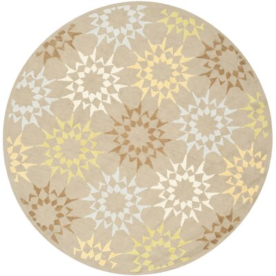 Block Quilt Hand-Tufted Beige/Brown/Yellow Area Rug Rug Size: Round 4