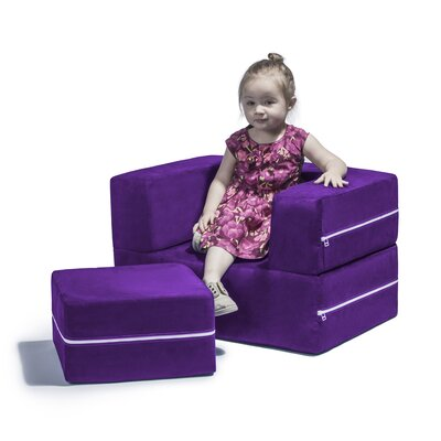 Colbie Modular Kids Club Chair and Ottoman Color: Grape