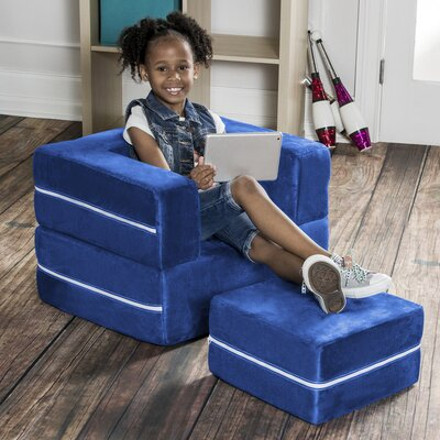 Colbie Modular Kids Club Chair and Ottoman Color: Blueberry