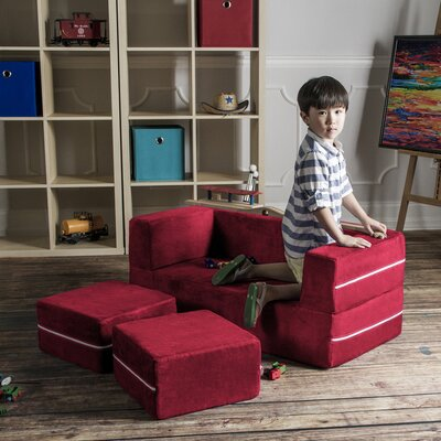 Colbie Modular Kids Club Chair and Ottoman Color: Cherry