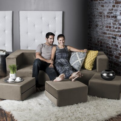 Colbie Convertible Sleeper Sofa with Ottomans Upholstery: Sand