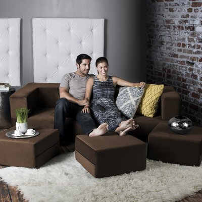 Colbie Convertible Sleeper Sofa with Ottomans Upholstery: Java