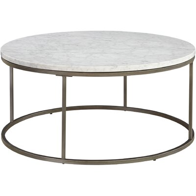 Louisa Round Coffee Table Top Finish: White Marble