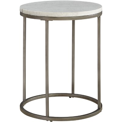 Louisa Round End Table Top Color: White Marble