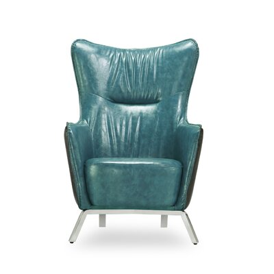 Alisa Wing back Chair Color: Teal