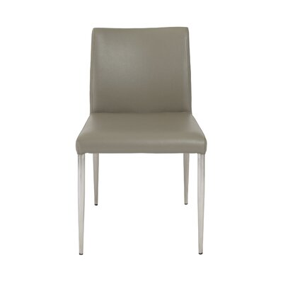 Alyson Genuine Leather Upholstered Dining Chair (Set of 2) Upholstery: Dark Taupe